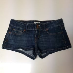Super short size 7/8 dark wash shorts